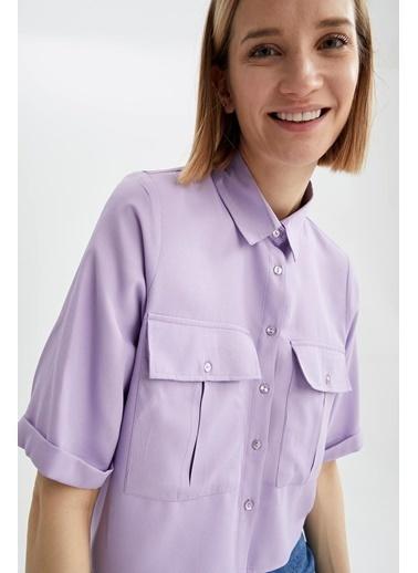 DeFacto Cep Detaylı Relax Fit Crop Gömlek Mor